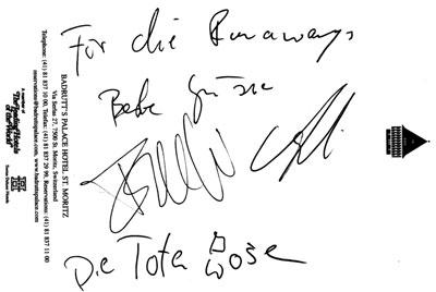 Tote Hosen Autogramm